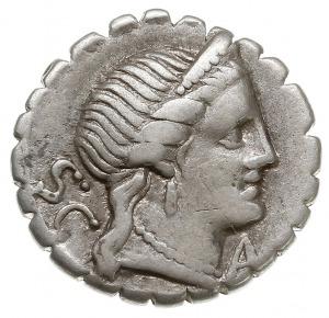 denar serratus 79 pne, Rzym, Aw: Głowa Wenus w prawo, z...