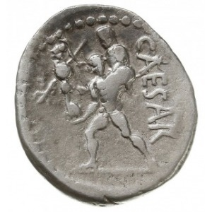 denar 47-46 pne, mennica w Afryce, Aw: Głowa Wenus w pr...