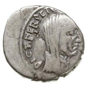 denar 44 pne, Rzym, Aw: Popiersie Cezara w chuście w pr...