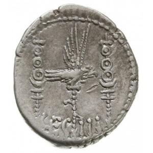 denar legionowy 32-31 pne, Legion III, Aw: Galera w pra...