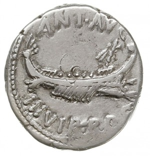 denar legionowy 32-31 pne, Legion VI, Aw: Galera w praw...