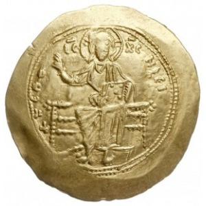 hyperpyron po 1092, Konstantynopol, Aw: Chrystus siedzą...