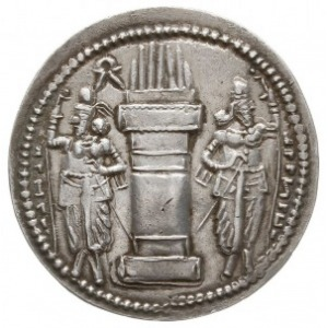 drachma, Aw: Popiersia króla i królowej w prawo, przed ...