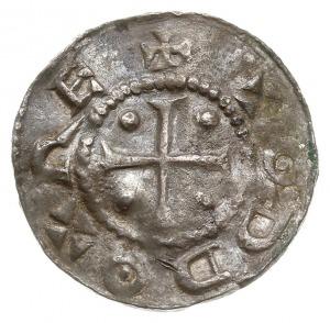 denar, Aw: Krzyż z kulkami w kątach, ODDO REX, Rw: Napi...