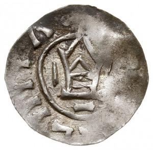 denar z kapliczką, przed 1006 r., Aw: Smukła kapliczka,...