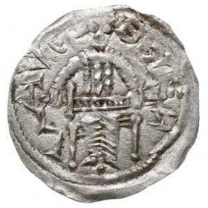 Denar 1146-1157, Aw: Cesarz z mieczem trzymanym poziomo...