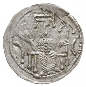 Denar 1157-1166 , Aw: Cesarz siedzący na tronie na wpro...