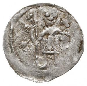 Denar 1146-1157, Aw: Dwaj książęta za stołem, Rw: Rycer...