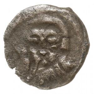 Koszalin, denar XV w., Aw: Głowa na wprost, Rw: Litera ...