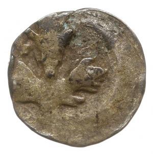 Gardziec, denar XV w., Aw: Trójliść, Rw: Gryf kroczący ...