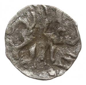 Goleniów, denar XV w., Aw: Dwa półksiężyce, wokoło czte...