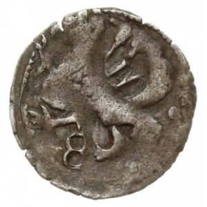 Goleniów, kwartnik XV w., Aw: Dwa półksiężyce, wokoło c...