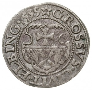 grosz 1539, Elbląg, na awersie PRVS, miecz z prawej str...
