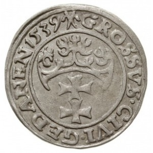 grosz 1539, Gdańsk, PN.13-Dut.187, bardzo ładny