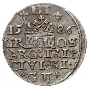 trojak 1586, Ryga, duża głowa króla, Iger R.86.1.a (R),...