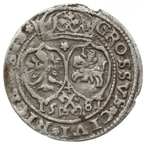 grosz 1581, Ryga, rzadki typ monety - na rewersie herby...