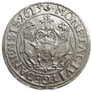 ort 1615, Gdańsk, duża głowa króla, kropka za łapą nied...