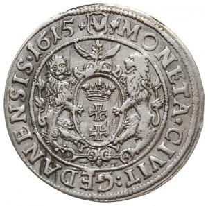 ort 1615, Gdańsk, mała głowa króla z szeroką kryzą, łap...
