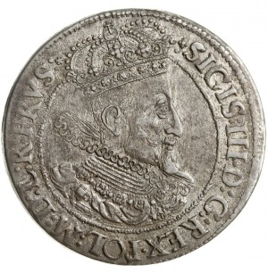 ort 1616, Gdańsk, mała głowa króla z szeroką kryzą, Sha...