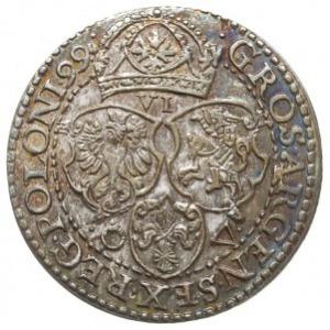 szóstak 1599, Malbork, odmiana z małą głową króla, paty...