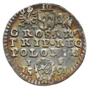 trojak 1591, Olkusz, Iger O.91.3.a(R2), tęczowa patyna,...