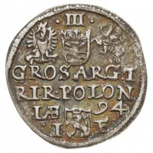 trojak 1594, Olkusz, bez znaku mennicy na awersie, Iger...