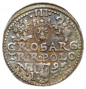 trojak 1595, Olkusz, Iger O.95.4.d, różnobarwna patyna,...