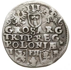 trojak 1596, Poznań, na awersie w napisie jako przerywn...