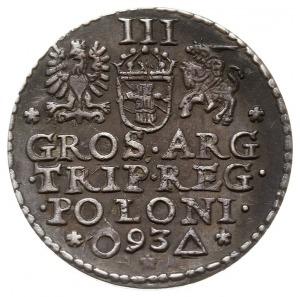 trojak 1593, Malbork, odmiana z nieco dłuższą brodą kró...