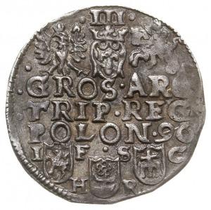 trojak 1596, Bydgoszcz, odmiana z dużą głową króla, Aw:...