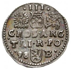 trojak 1598, Bydgoszcz, herb Lewart pomiędzy skróconą d...