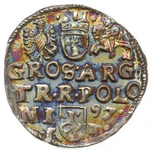 trojak 1597, Lublin, skrócona data z prawej strony herb...