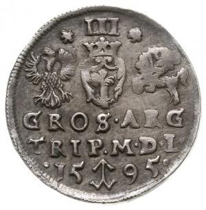 trojak 1595, Wilno, odmiana bez herbu Prus, Iger V.95.1...
