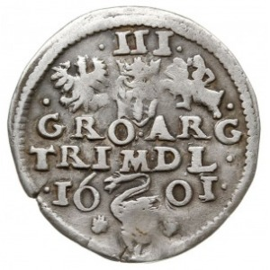 trojak 1601, Wilno, na rewersie herb Łabędź przedziela ...