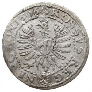 grosz 1606, Kraków, odmiana z herbem Lewart w prostej t...