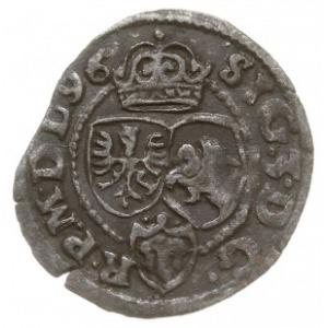 szeląg 1596, Poznań, Aw: Monogram pod koroną, po bokach...