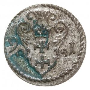 denar 1591, Gdańsk, CNG 145.II, na rewersie zielona pat...