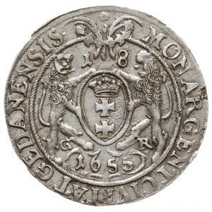 ort 1655, Gdańsk, odmiana bez kwiatka kończącego napis ...