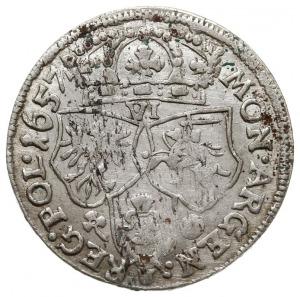 szóstak 1657 I-T, Kraków, na rewersie dwa kwiatki, mone...