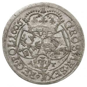szóstak 1666 AT, Kraków, odmiana z herbem Ślepowron, zi...