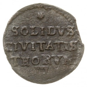 szeląg 1671, Toruń, odmiana z napisem SOLIDVS, bardzo ł...