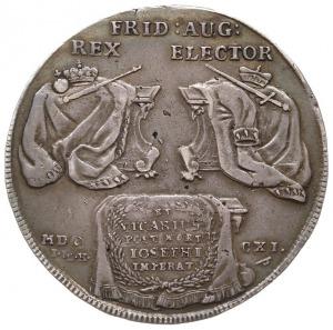 talar wikariacki 1711, Drezno, Aw: Król na koniu, Rw: T...