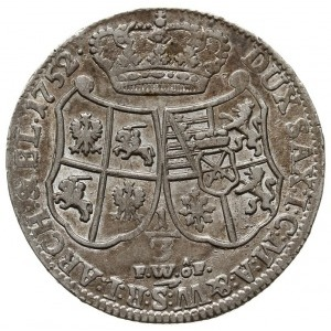 1/3 talara (1/2 guldena) 1752, Drezno, na rewersie inic...