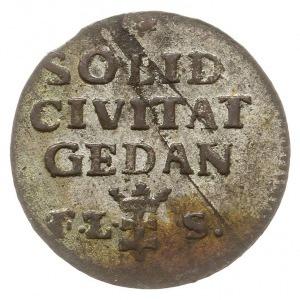 szeląg 1766, Gdańsk, Plage 488, wada blachy na rewersie...