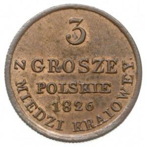 3 grosze polskie z miedzi krajowej 1826, Warszawa, Iger...