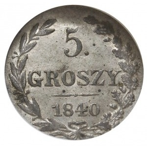 5 groszy 1840 MW, Warszawa, z kropką po cyfrze nominału...