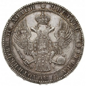 1 1/2 rubla = 10 złotych 1834 HГ, Petersburg, korona sz...
