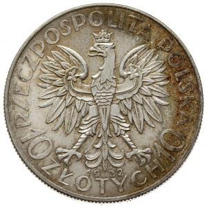 10 złotych 1932, Warszawa, Głowa kobiety, Parchimowicz ...