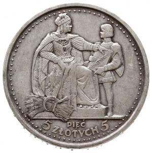 """5 złotych 1925, Warszawa, """"Konstytucja"""", odmiana z 81 p..."""