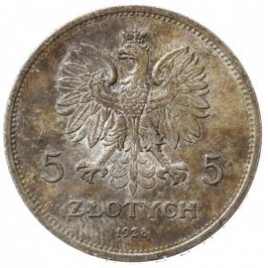 """5 złotych 1928, Warszawa, """"Nike"""", Parchimowicz 114.a, n..."""